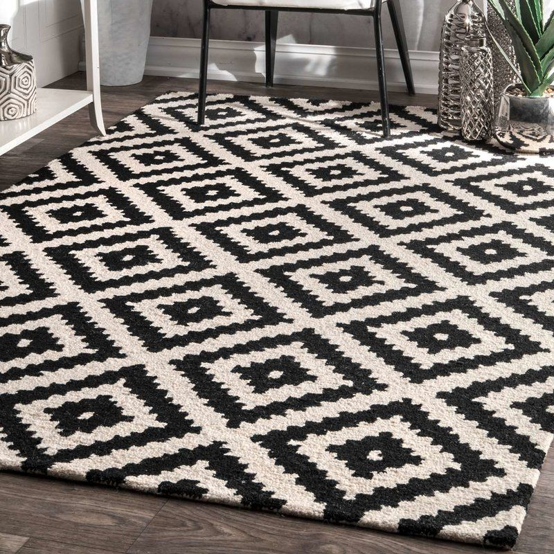 Kelly Black Cream Geometric Wool Hand Tufted Area Rug Grey Rugs