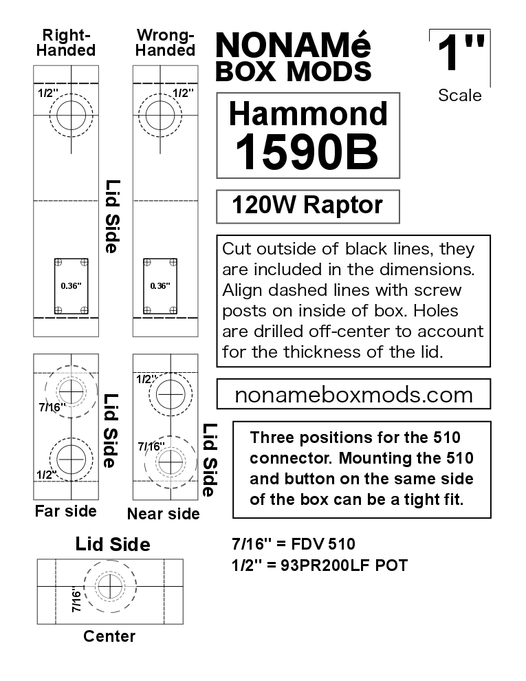 Drilling Template For Hammond 1590b Box Mod  Link To Pdf