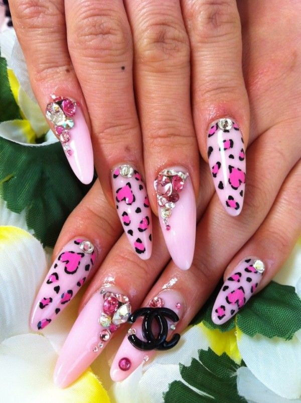Heart Leopard Print Nails By Ayano Leopard Print Nails Animal Print Nails Leopard Nails