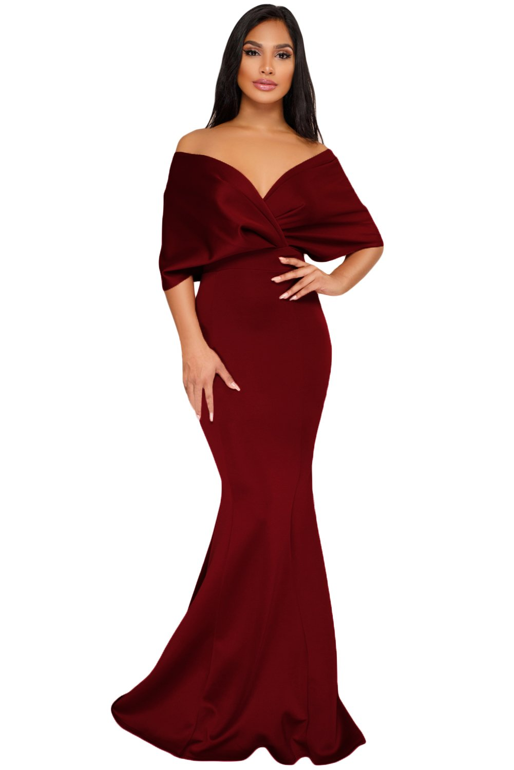 Elegant maxi dresses for weddings  Red Off The Shoulder Mermaid Maxi Dress Size US S by