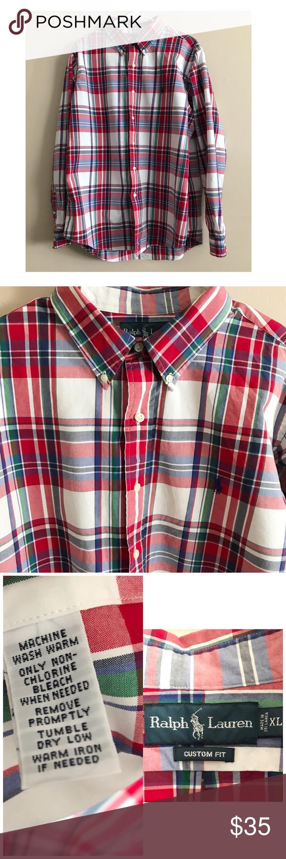 Custom Bleached U.S Polo Red Blue Plaid Shirt XL