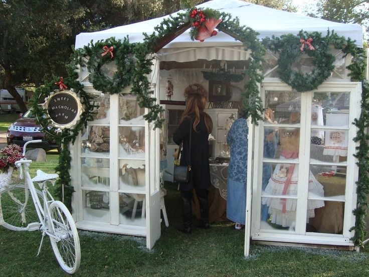 great booth display, all doors and windows, like a mini store, The Vintage Marketplace-CA