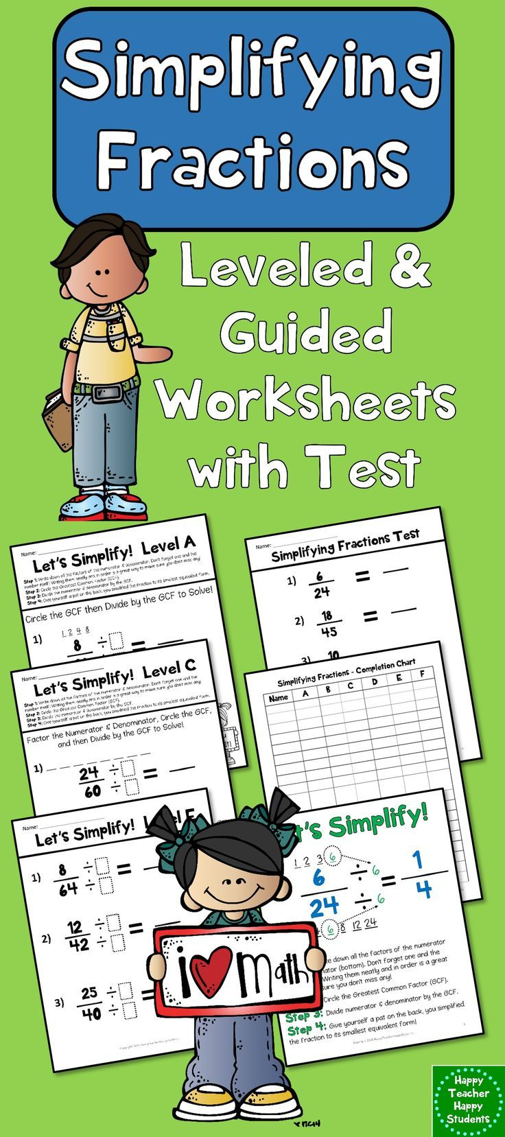Simplifying Fractions: 6 Leveled Worksheets, Test (Quiz) and Poster ...