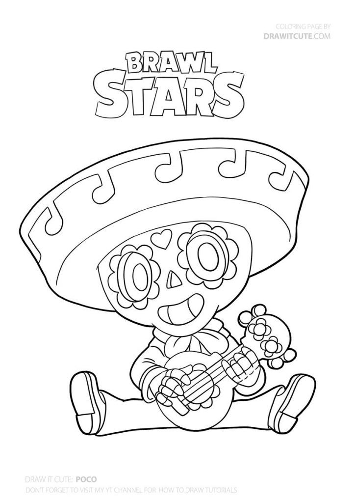 How To Draw Poco Super Easy With Coloring Page Brawl Stars