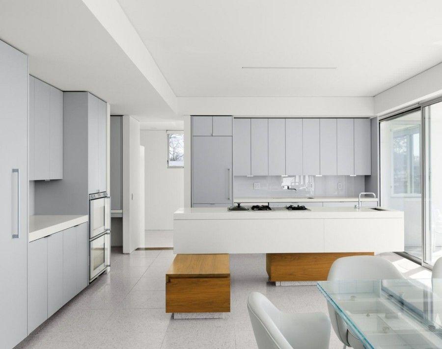 moderne Küche grau weiß verschiedene Nuancen kombinieren ein