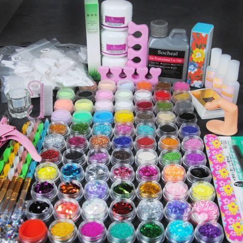 Pro Acrylic 78 Powders Liquid Nail Art Files Kit Stickers Glue