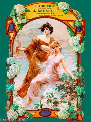 A La Dame Blanche French Nouveau France Vintage Advertisement Art Poster