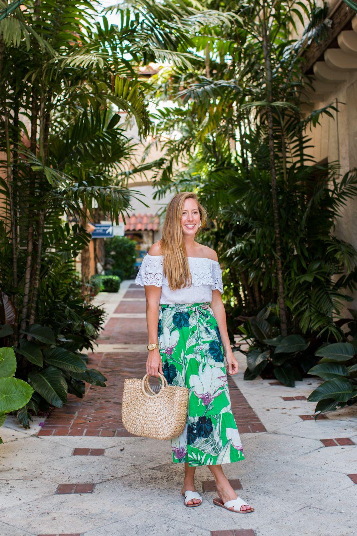 A Tropical Midi Skirt To Wear In Palm Beach Florida Tropical