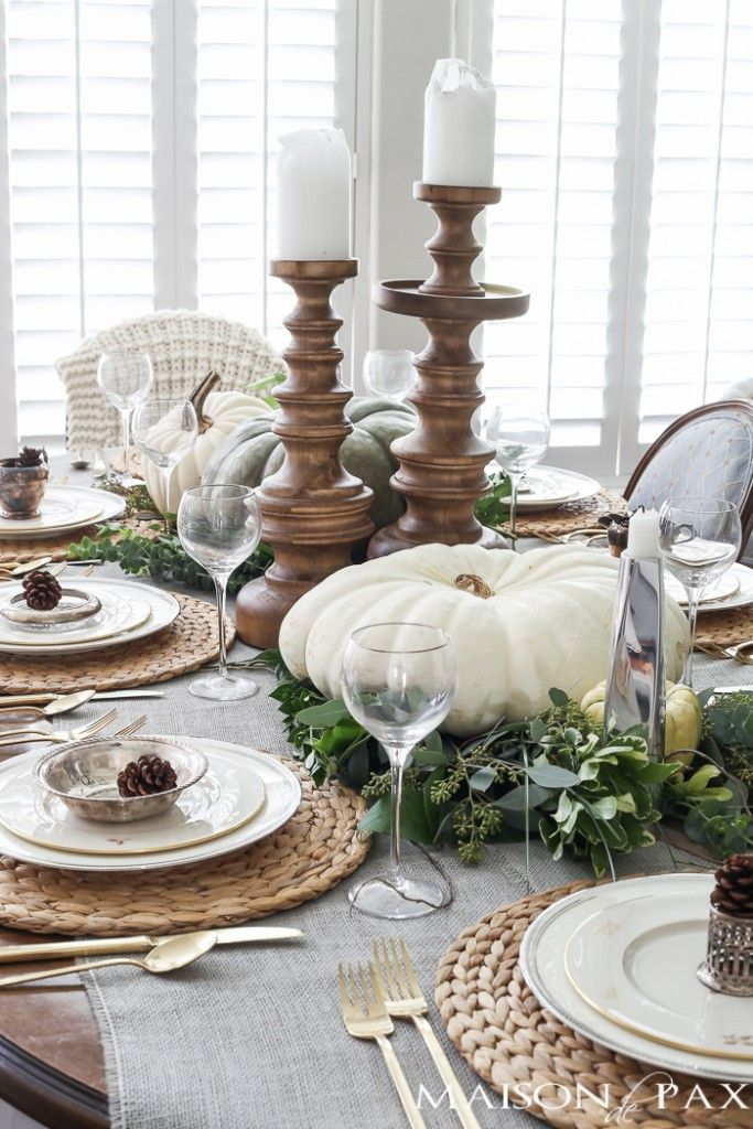 Elegant neutral thanksgiving table decor a u t u m n - Thanksgiving table decorating ideas ...
