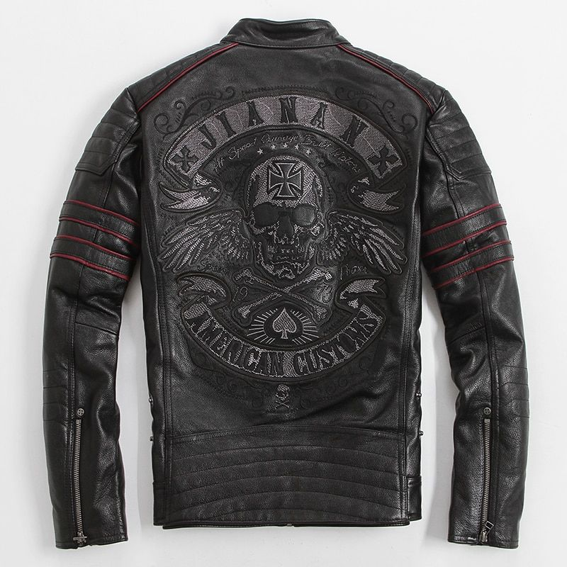 American customs skull embroidery cowskin genuine leather