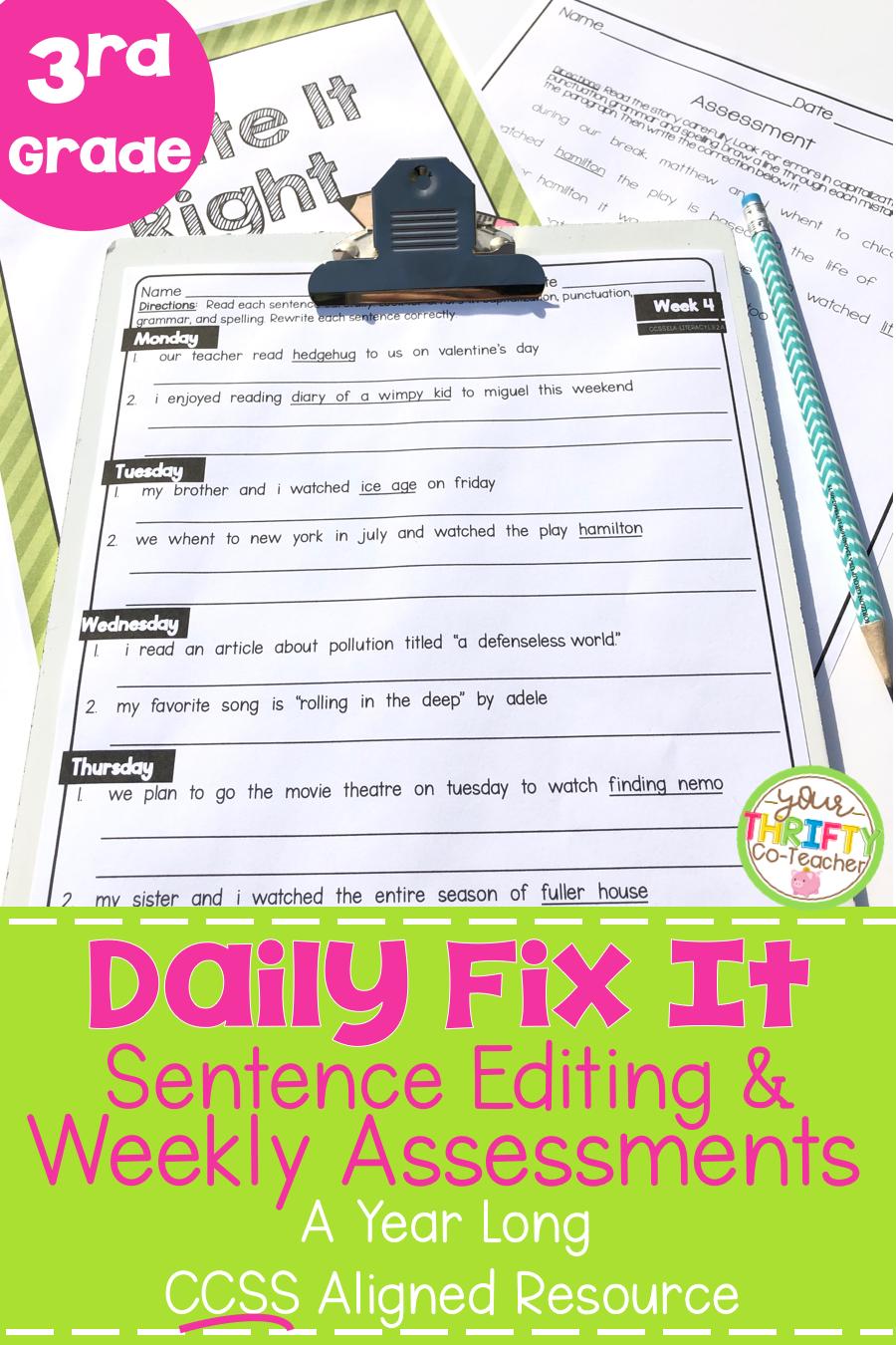 3rd Grade Daily Oral Language Sentences   Morning Work   Daily Language  Review   Sentence editing [ 1350 x 900 Pixel ]
