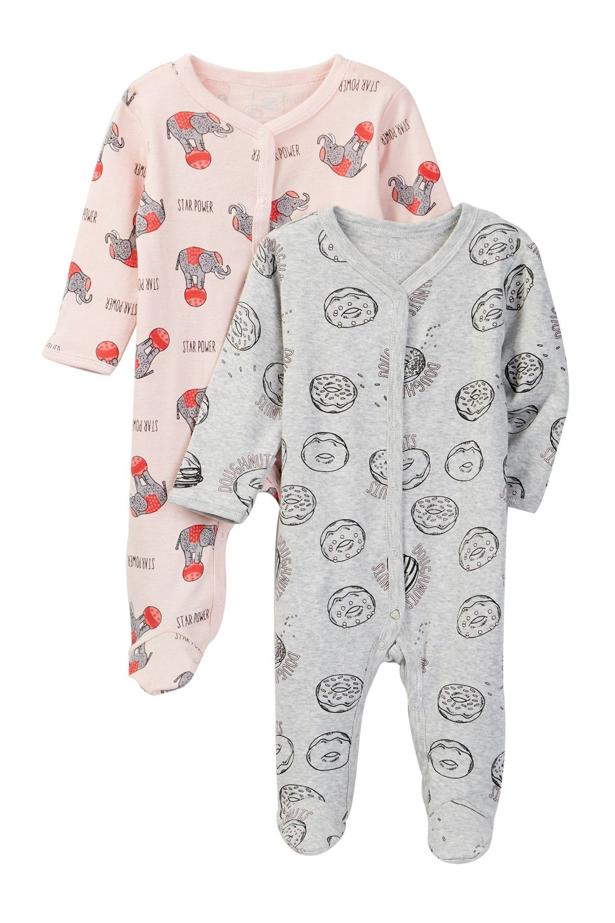 Circus Print Footies - Pack of 2 (Baby Girls)