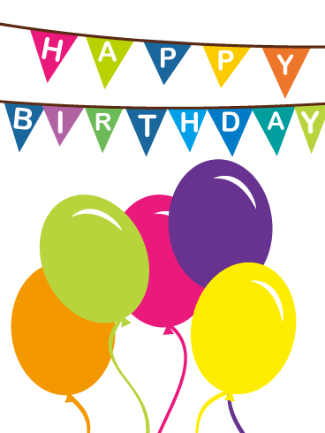 Colorful Birthday Flags Balloons ECard