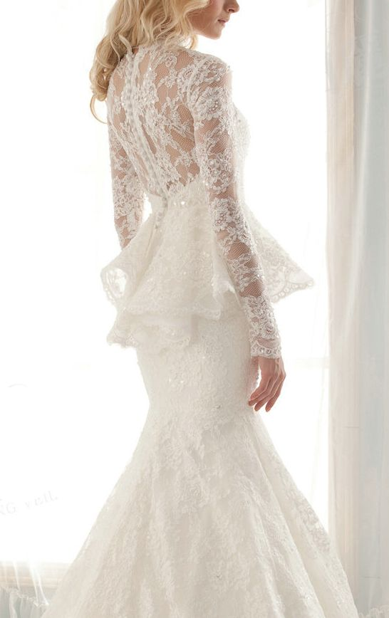 White lace peplum wedding dress | Brides dresses | Pinterest ...