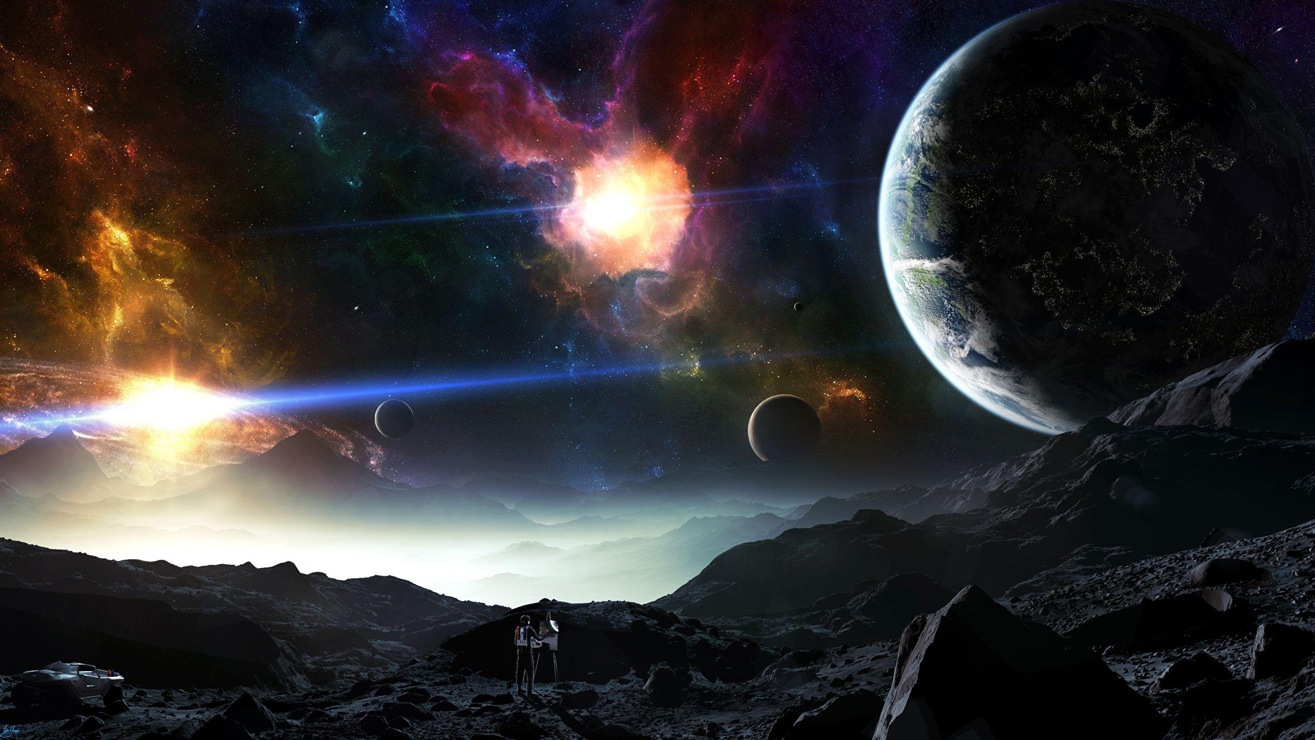 Planet Space 3d2560x1440 Fond Ecran Hd Fond Ecran Et