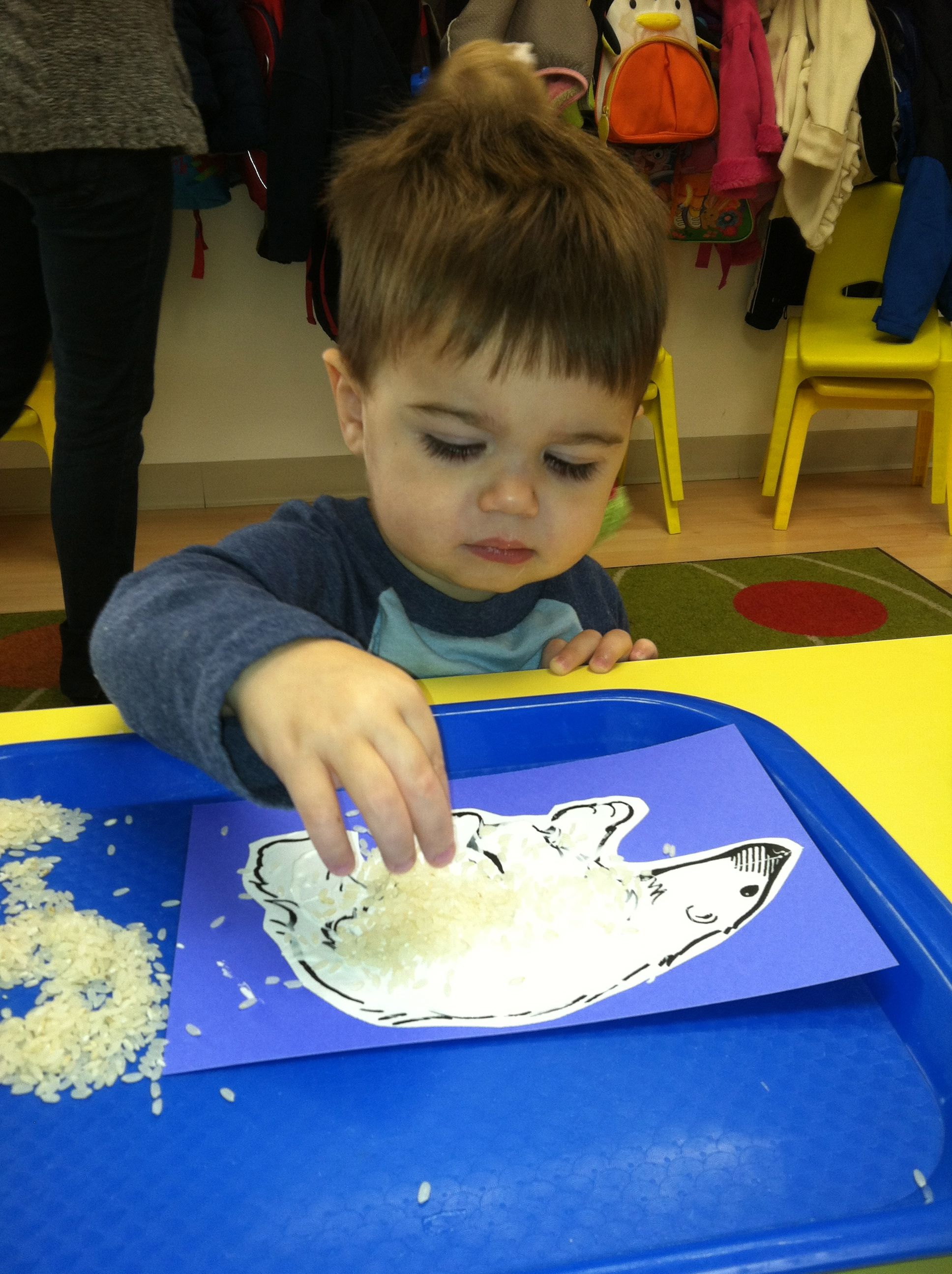 Boys And Girls Used Their Fine Motor Skills To Add White