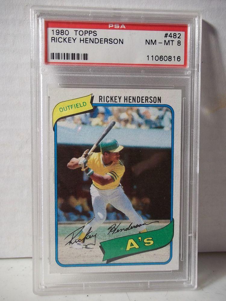1980 topps rickey henderson rc psa nmmt 8 baseball card