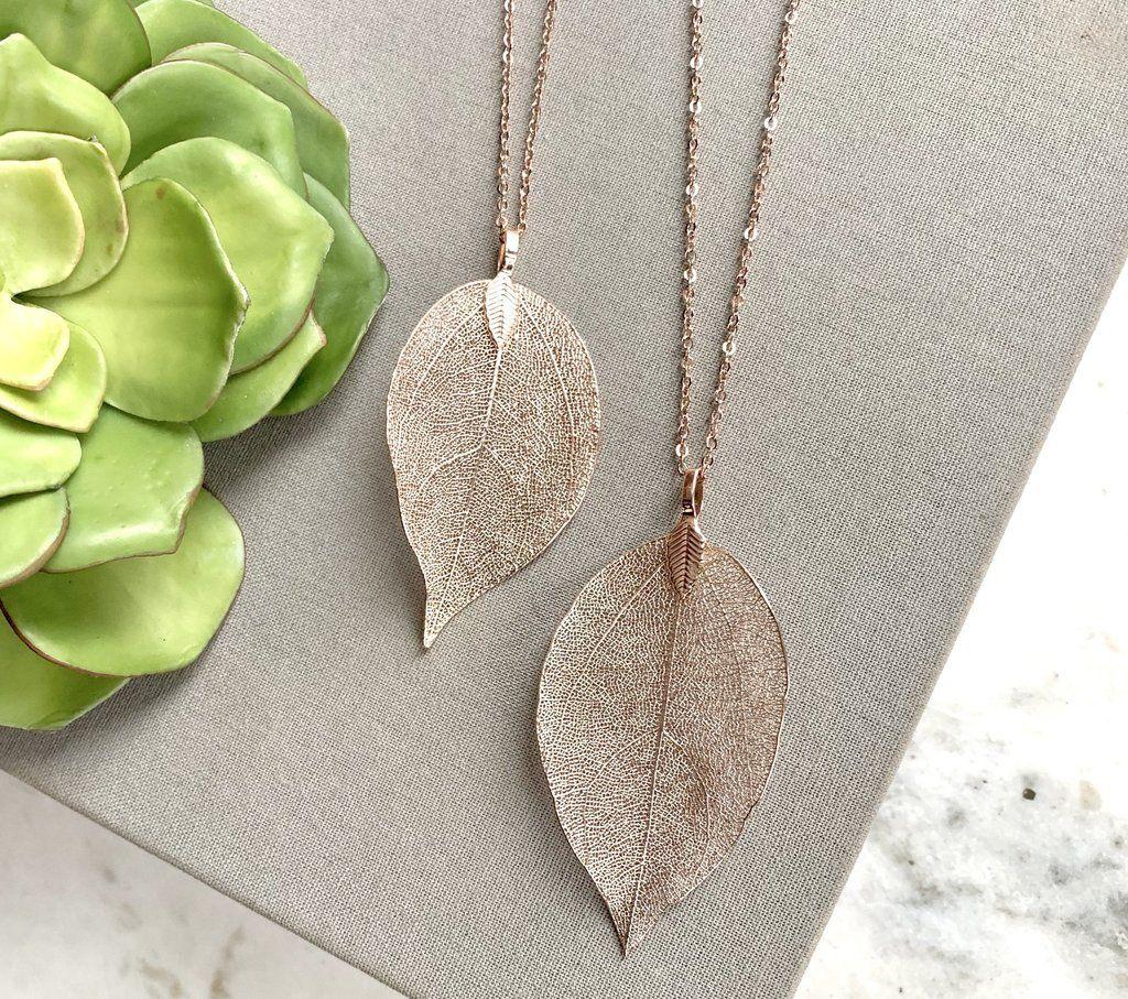 Photo of Bohemian Leaf Pendant Necklace Rose Gold