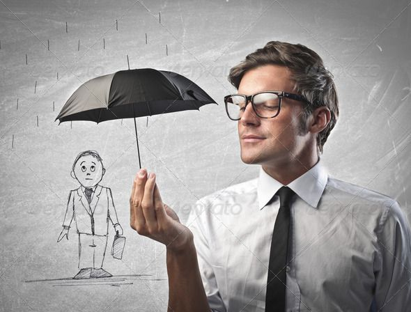 Office Worker Protecting With A Little Black Umbrella A Man Drawn