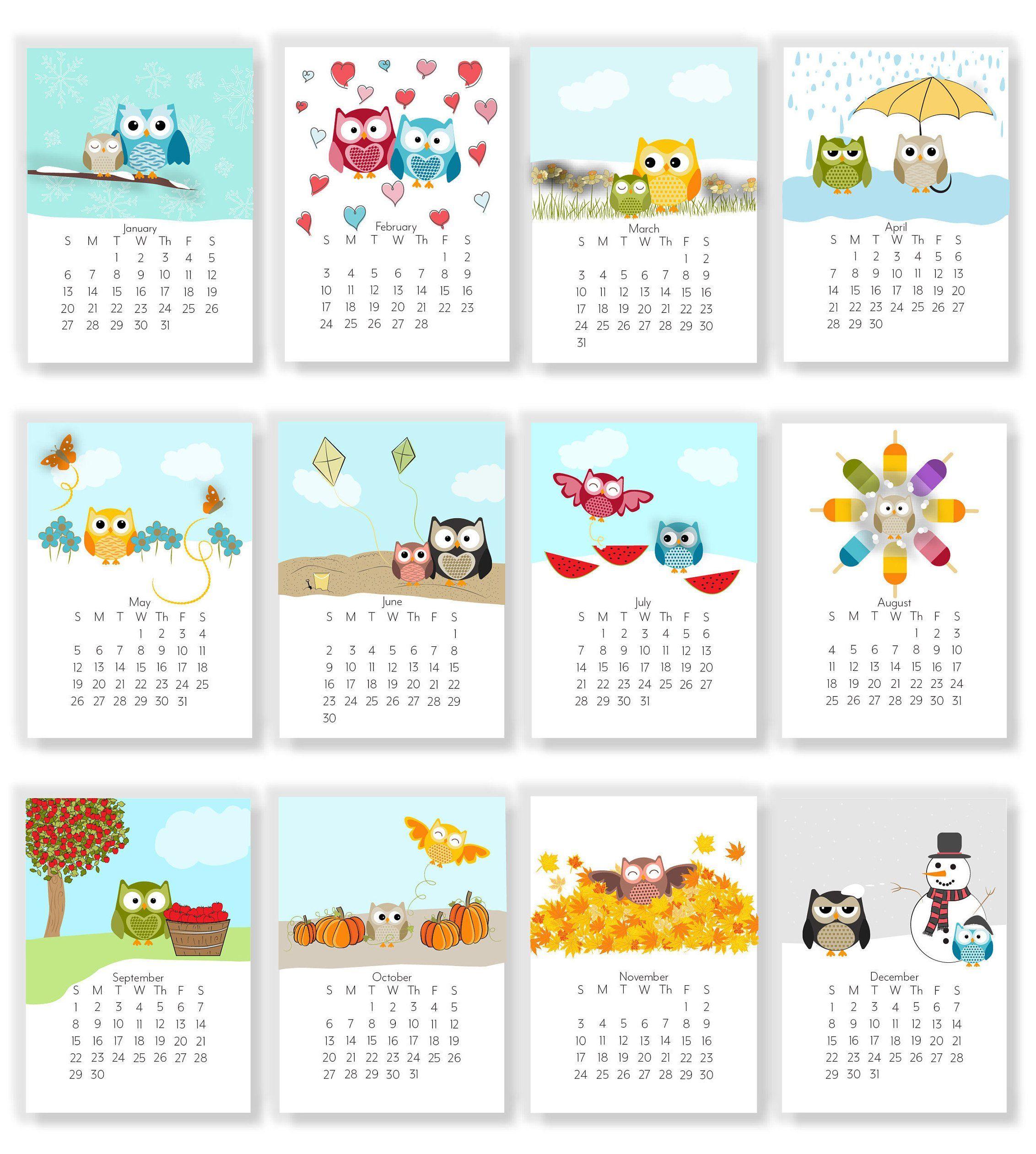 2020 Adorable Owl Monthly Calendars Instant Download Etsy In 2020 Calendar Monthly Planner Instant Download Etsy Calendar