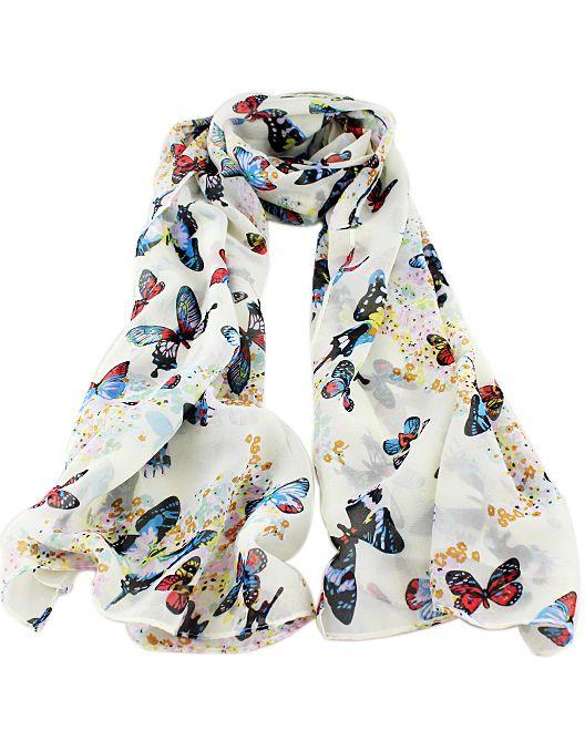 Bufanda mariposa-blanco | LINDO | Pinterest | Moda, Pashminas y Pañuelo