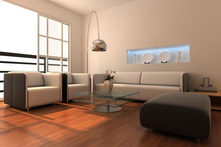 Simple Living Room Pictures Part - 36: Simple Living Room With Redish-brown Wood Flooring, White And Dark Grey  Furniture,