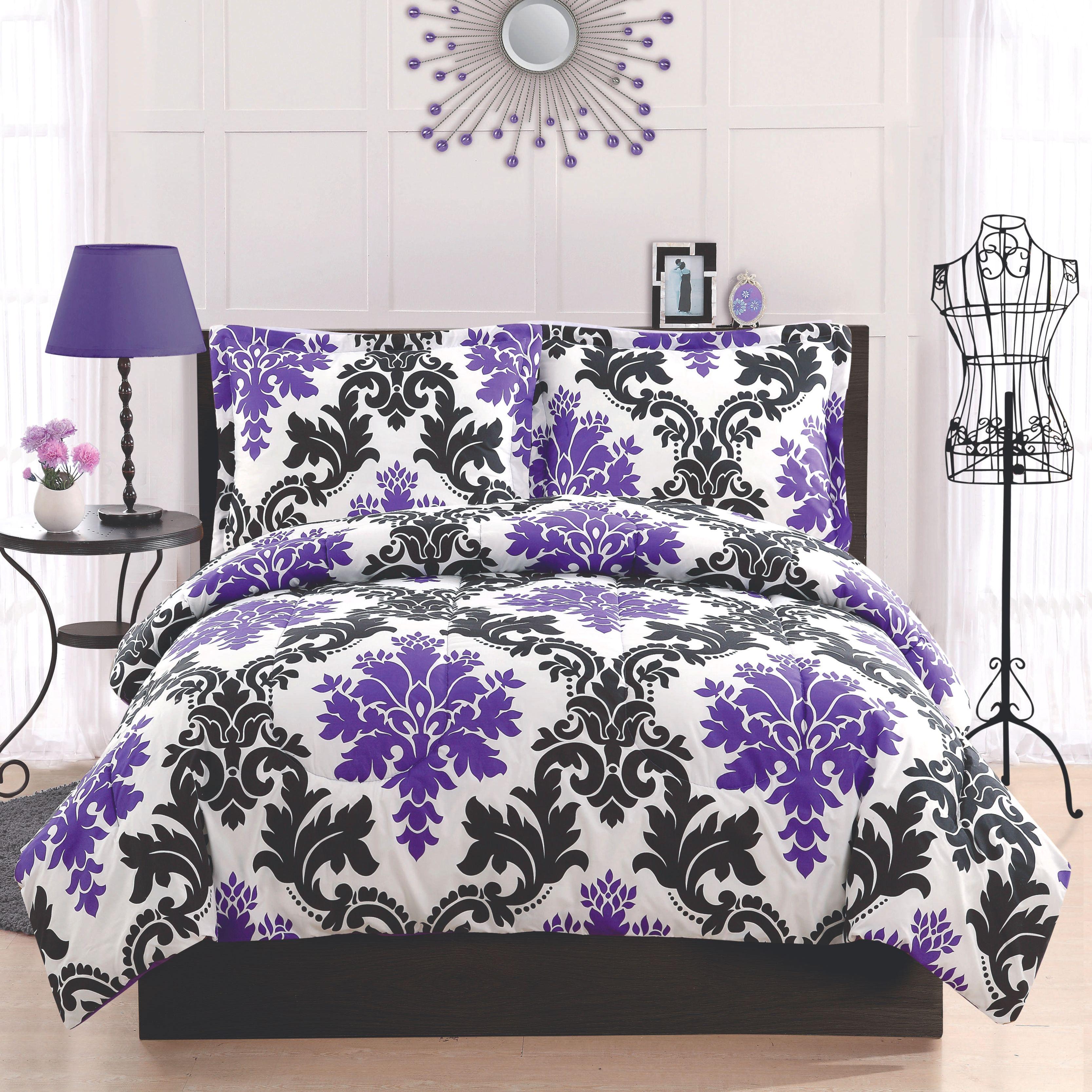 Black and purple bed sheets - Black White And Purple Damask Bedding Dorm Bedding Teen Bedding Damask Bedding