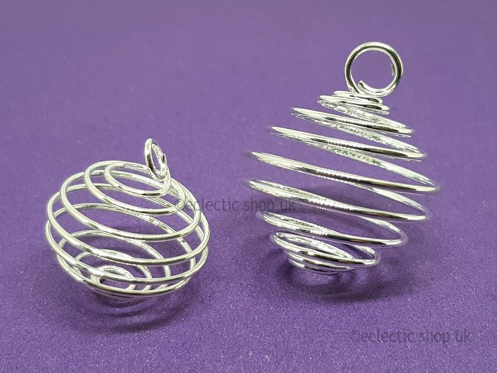 Tumble Stone Cage Holds Gemstone Crystals Choose 19mm 25mm,Tumble Silver