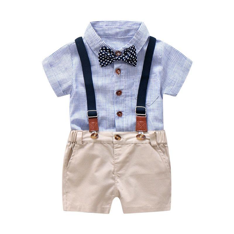 Toddler Kids Boys Summer Gentleman Bowtie Short Sleeve Shirt+Overall Shorts Sets