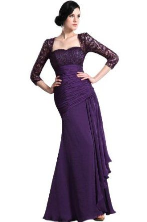 Purple Lace Evening Gowns with Sleeves_Evening Dresses_dressesss