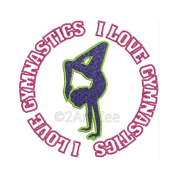 I Love Gymnastics Machine Embroidery Design