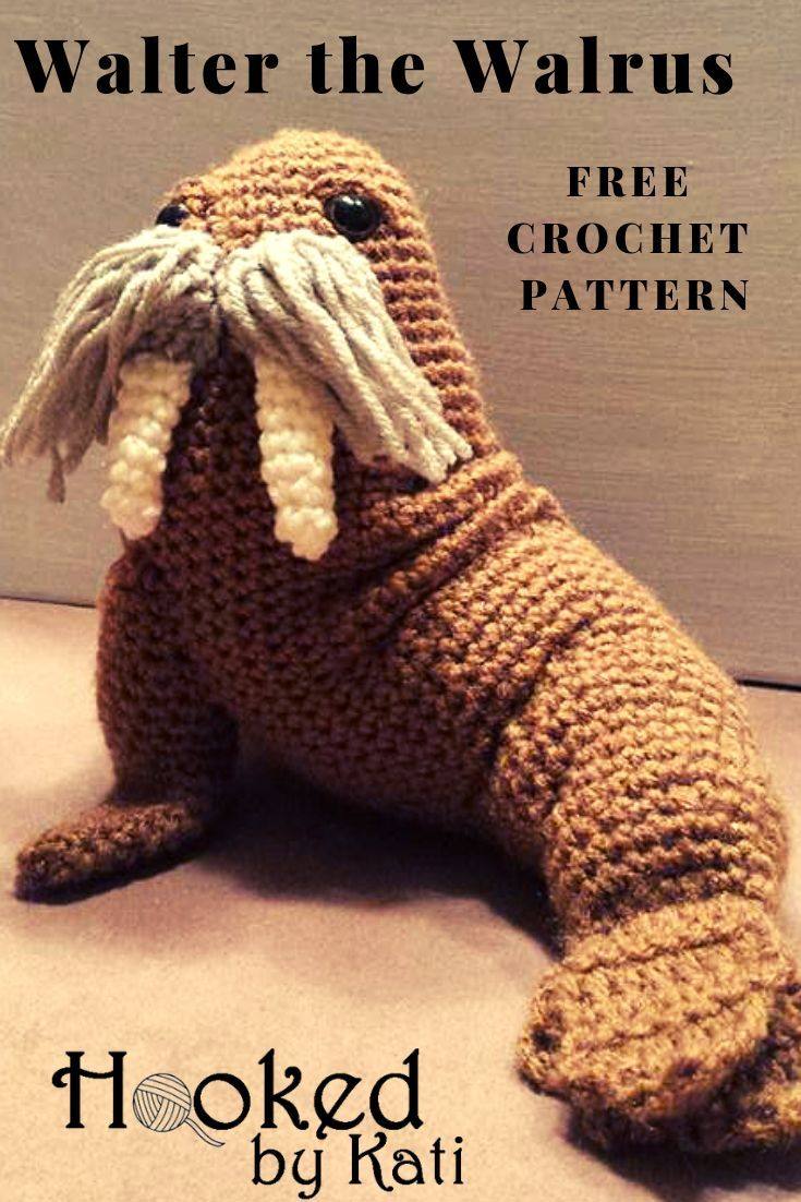 Walter the Walrus | Free Pattern | Hooked by Kati #crochetanimals