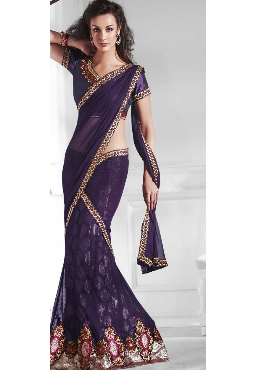 Deep Wine Bamberg Ready Pleated Saree with Blouse Online Shopping ...