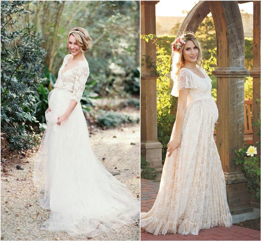 Vestido de novia con embarazada