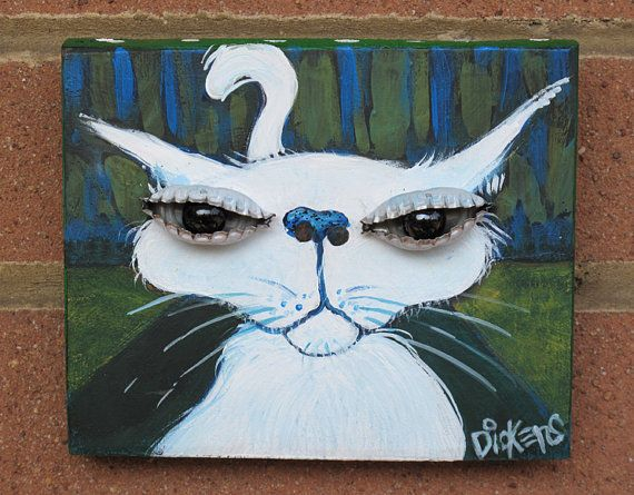 Original Painting White Cat on Green by dianedickens on Etsy