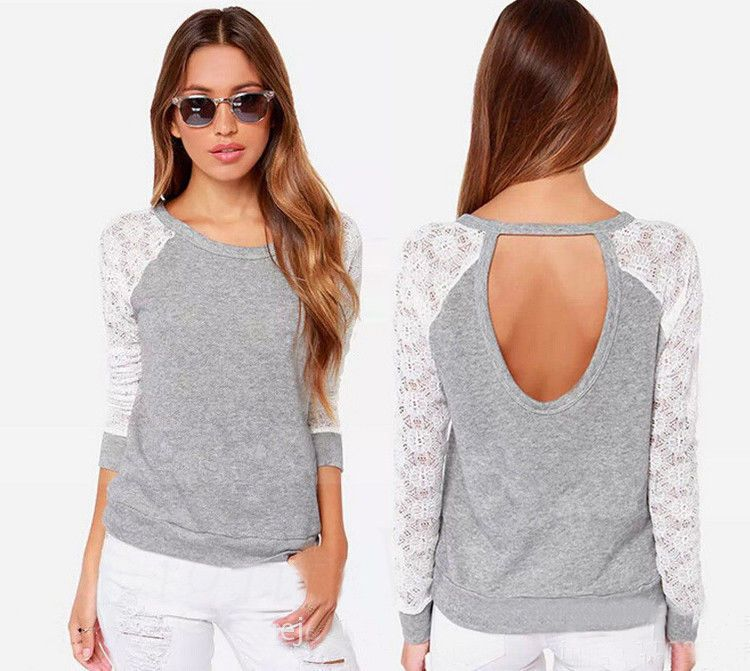 2015 New Womens Fashion Lace Splice Crew Neck Long Sleeve Tops T-shirt Blouse DG #LightVogue #Blouse #Casual