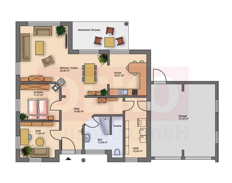 grundriss l ngliches haus grundriss bungalow mit integrierter garage grundrisse bungalow in. Black Bedroom Furniture Sets. Home Design Ideas