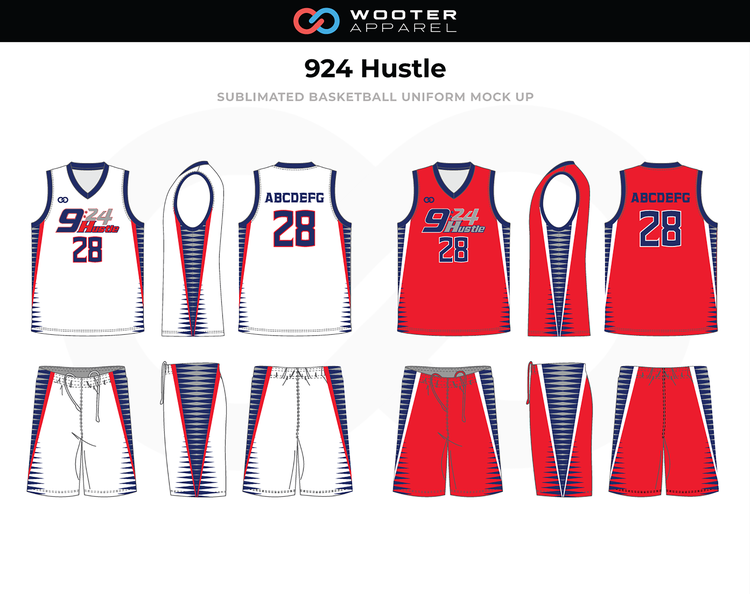 924 Hustle Red White Blue Grey Custom Basketball Uniforms Jerseys Shorts Custom Basketball Uniforms Basketball Uniforms Design Basketball Uniforms