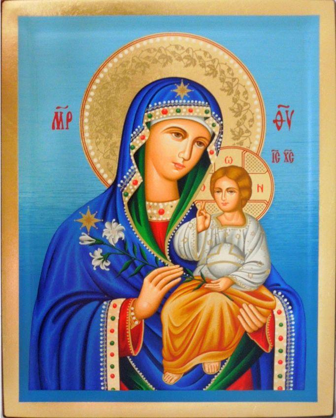 Virgin Mary Leushinskaya carved wood Hand-Painted Icon