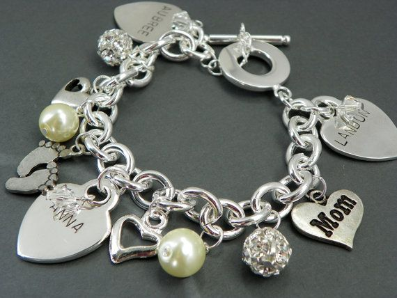 Personalized Grandma Charm Bracelet Hand Stamped Heart Children S Name Five Charms