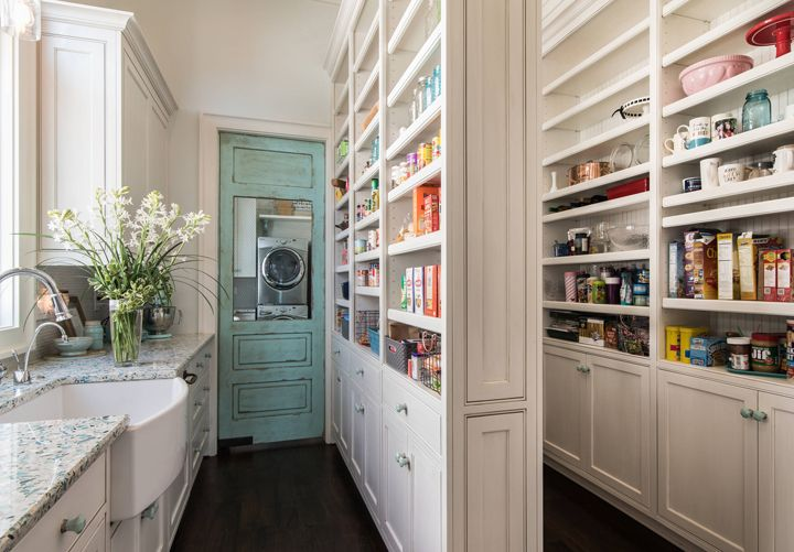huge pantry with turquoise door home pantry laundry. Black Bedroom Furniture Sets. Home Design Ideas