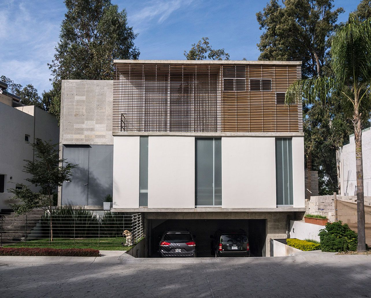 House With Underground Parking Pesquisa Google Fachadas Quadradas Pinte