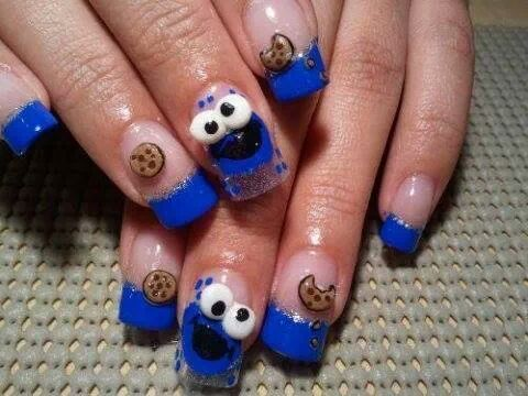 COOKIE!!!!!! cute cookie monster nails