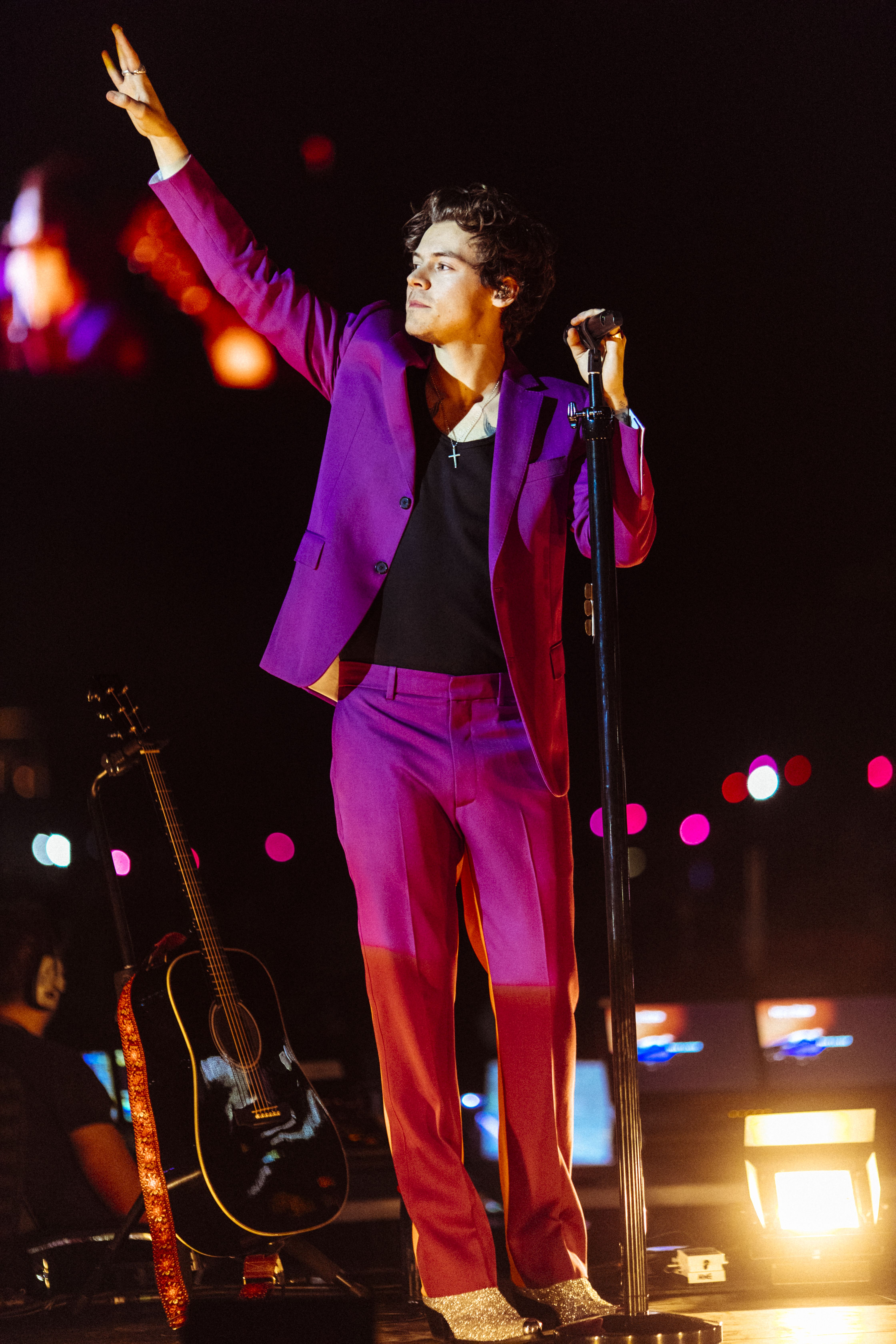 No shrinking violet singer Harry Styles, wearing a custom