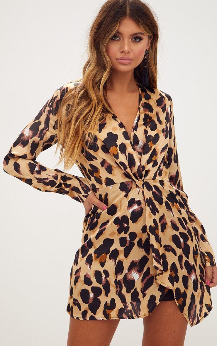 eee3cb67a186 Leopard Print Satin Long Sleeve Wrap Dress