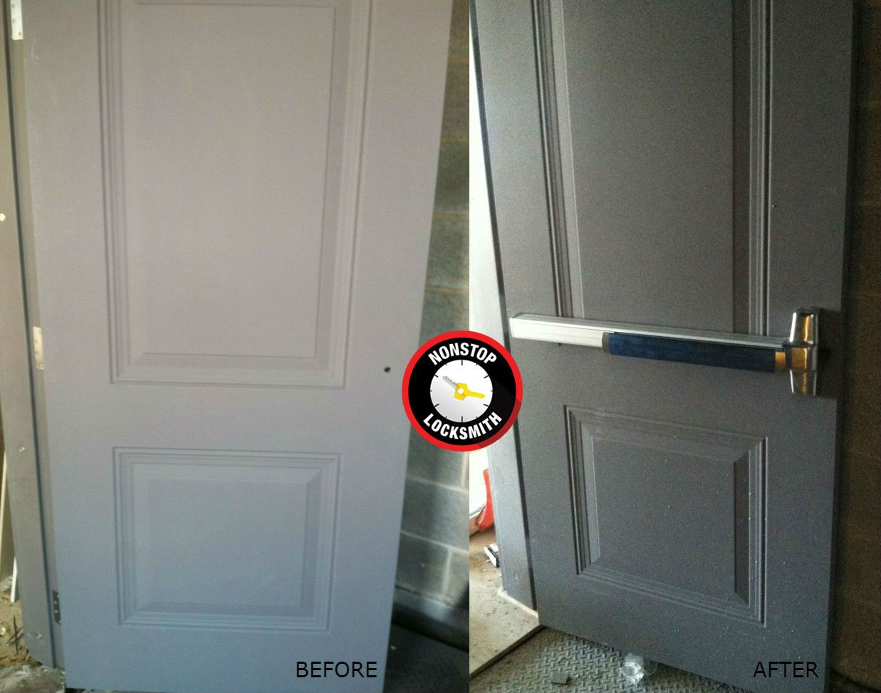 commercial door security bar. Before And After Exit Door Push Bar Installation Done By NONSTOP Locksmith. #Chicago # Commercial Security N