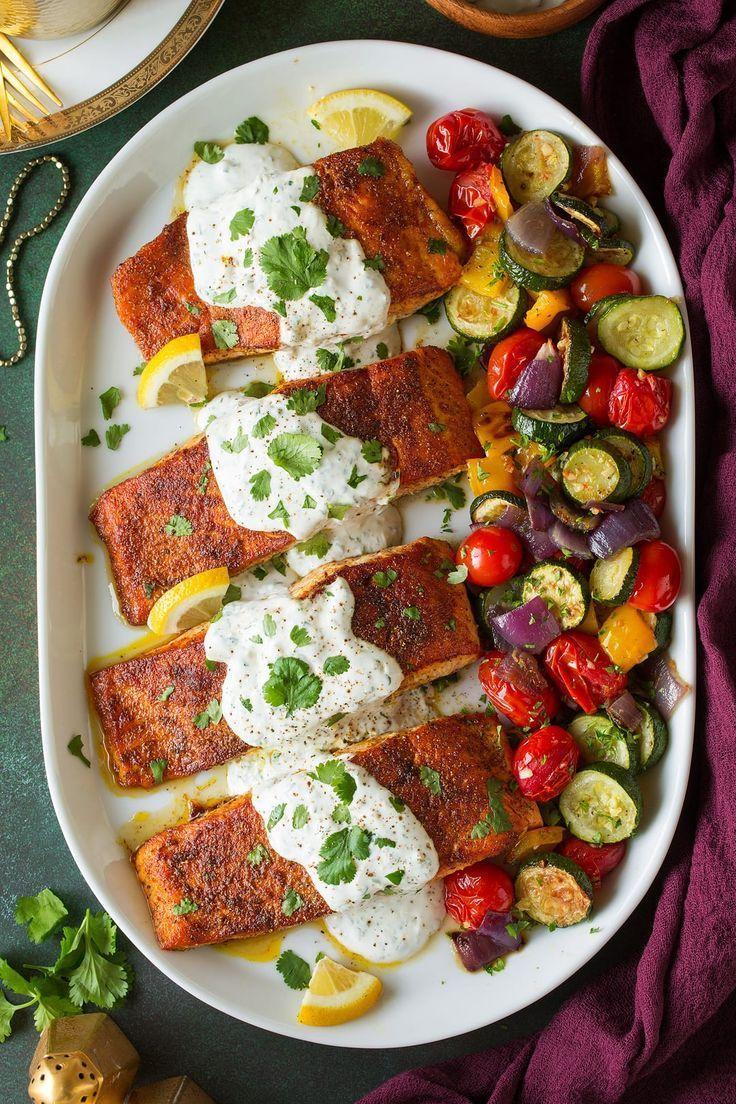 Moroccan Spiced Salmon With Lemon Yogurt Sauce Salmon Spices