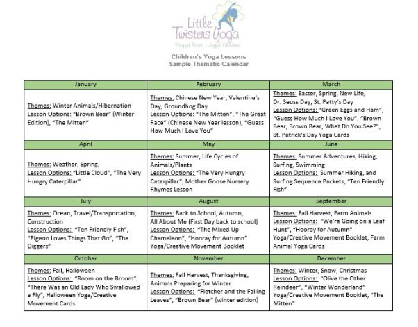 Sample Thematic Calendar For Using Storytime Yoga Lesson Plans In