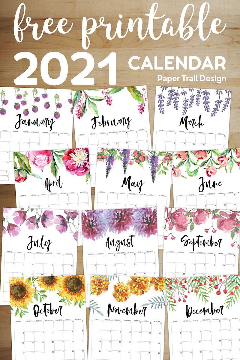 Free Printable Calendar 2021 - Floral   Paper Trail Design ...