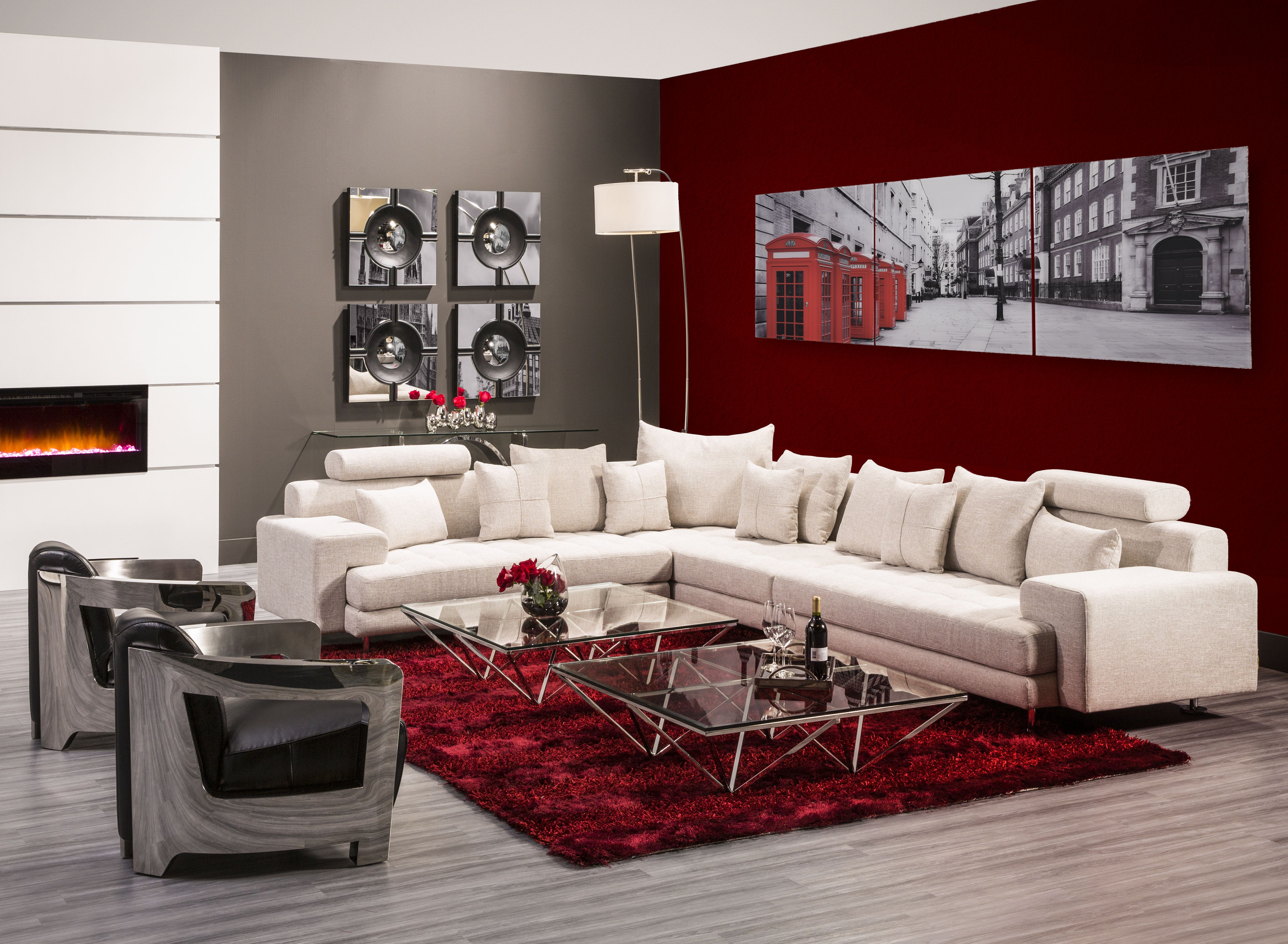 Sit Back On The Luciano Sofa As You Add Bold Red Tones To Your